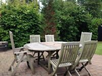 Westminster Teak Table & 6 Chairs 2 Loungers and 4 Chairs Good condition buyer collects