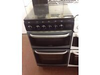 SILVER/BLACK 50CM GLASS LID GAS COOKER BIRMINGHAM