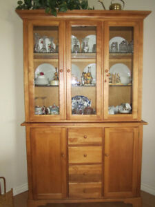 Solid Hardwood Hutch and Buffet (Two Pieces)