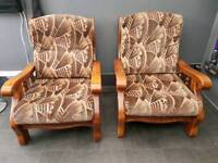 Pair of solid fireside chairs