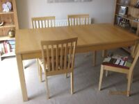 Large dining table & chairs