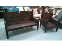 Stunning carved wooden bench and chair set