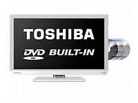 Television with Built-In DVD Player (White) - Toshiba (24 inch) Freeview - Full HD LED