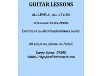 Guitar Lessons, Specialise in Beginners, All levels/Styles