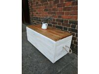 Rustic boho trunk bench/storage chest/ottoman. Handcrafted, reclaimed, rope. Whitewash shabby chic.