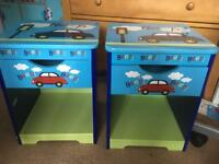 2x childrens car bedside cabinets