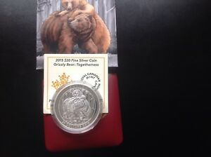2015 $20 Silver Coin-Grizzly Bear : Togetherness