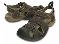 Crocs Swiftwater Fisherman brown leather sandals Size 10