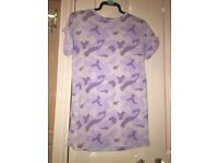Over-sized Purple Camo T-shirt, Size 8.