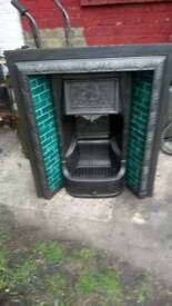 """Victoria cast iron fire place tiled insert restored ex connection size 30""""x3f"""