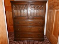 Solid Oak Chest of Draws HAND CARVED Dove Tailed Joints