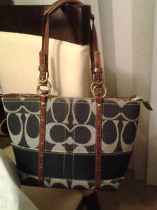 Navy and White Coach Tote