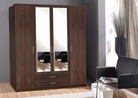 PAY ON DROP GERMAN DESIGN OSAKA BROWN 3 Door 4 Door or 2 Door High Gloss Wardrobe- QUICK DELIVERY!