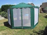 4m wide green hexagonal gazebo