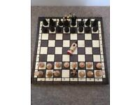 Hand crafted wooden chess board + draughts set