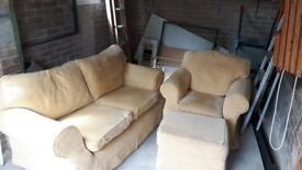 2 seater + armchair and footstool