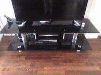 Luxury Solid black glass TV Stand (+Free Large Coffee Table)