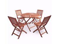 VonHaus 5 Piece Outdoor Hardwood Garden Dining Set