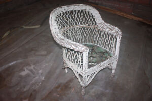 Wicker chair and planter