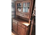 SOLID OAK rustic/industrial style dresser cabinet bookcase display unit