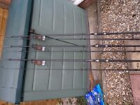 Carp Rods For Sale, 3 X Leeda Rogue 10ft 3.5TC Carbon Carp Rods With Bags All New