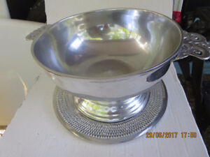 MID CENTURY MODERN NAMBE SILVER BOWL CHARGER ART DECO DINING MCN
