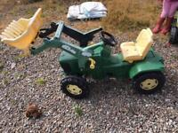 John Deere toy tractor and trailer