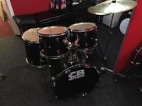 CB Black Drum Kit with stands, cymbals, stool and sticks