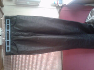 Leather insulated biker pants