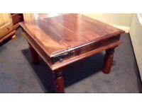 Indian Style Dark Wood Coffee Table