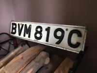 Original car number plate- HILLS vintage/antique enamel sign