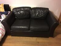 2-seater leather sofa black