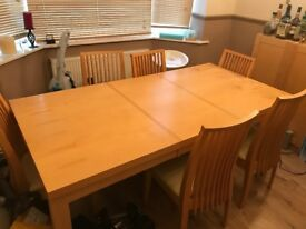 Dining table and chairs, plus matching cupboard unit, very good condition