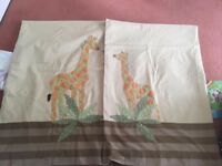 Child's room/Nursery Embroidered Giraffe Curtians - Very Good Condition from Next