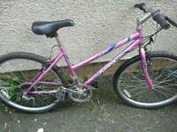 SABRE LADIES MOUNTAIN BIKE, 17 INCH FRAME, 26 INCH WHEEL'S, 18 GEARS, GOOD CONDITION
