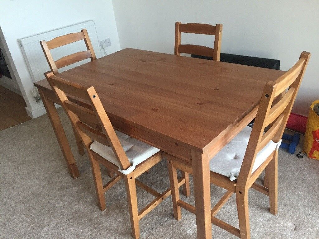 Ikea Jokkmokk Solid Pine Dining Table And 4 Chairs With 8