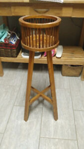 Unique 1940s Wooden Plant Stand - 3 Ft Tall