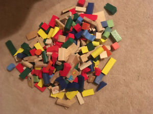 Over 100 wooden building blocks