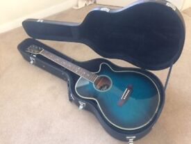 Vintage Guitar Electro Acoustic in Blue with case