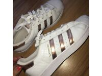 White and rose gold adidas superstar trainers - size 6