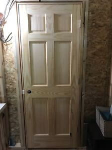 "TWO 30"" Solid Pine Six Panel Pre-Hung Wooden Doors"