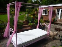 Pink Girls 4 Poster Bed with Mattress AS NEW