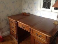 Leather Topped Hard Wood Writing Desk
