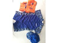 Safety swim jacket and swim/beach costume with accessories