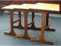 Set Of G Plan Vintage/Retro 'Fresco' Nest Of 3 Bipod Tables Curved Stretchers