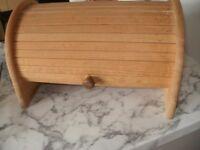 Vintage Bread Bin Wooden country kitchen Storage Roll Top