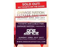 1 x SOLD OUT GARAGE NATION FESTIVAL TICKETS AT STREATHAM SAT/22ND JULY 2017
