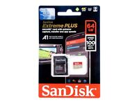 SanDisk Extreme PLUS 64GB microSDXC Memory Card + SD Adapter up to 100MB/s