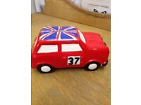 Vintage Collectable *ITALIAN JOB* Money Box Pottery Union Jack Mini Car BOXED No.37
