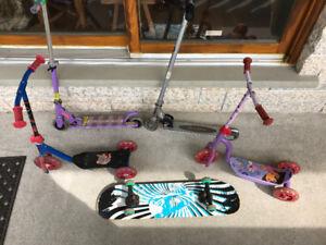 4 Scooters, 1 skateboard